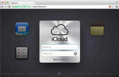 Введите Apple ID для входа на iCloud
