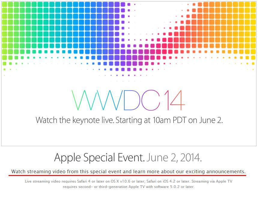 WWDC 2014 watch event